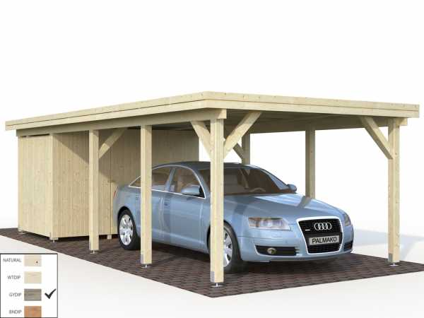 "Geräteraum für Carport ""Karl"" 23,1 m² 19 mm grau tauchimprägniert"