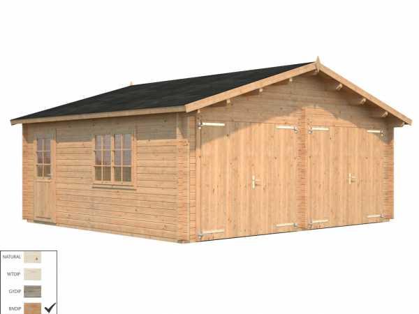 Garage Roger 28,4 m² mit Holztor 44 mm braun tauchimprägniert