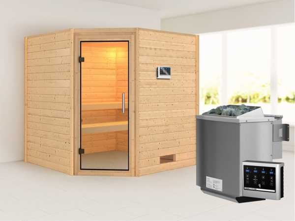 Sauna Massivholzsauna Nina Klarglas Ganzglastür + 9 kW Bio-Kombiofen mit ext. Strg