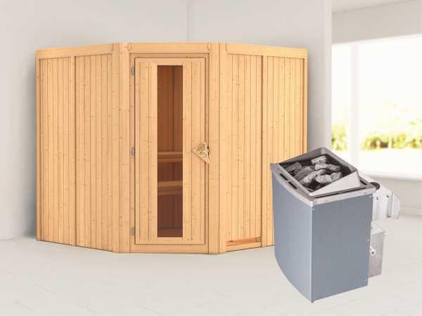 Systemsauna Jarin Holztür mit Isolierglas, inkl. 9 kW Saunaofen integr. Steuerung