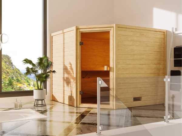 Sauna Lotta mit bronzierter Glastür