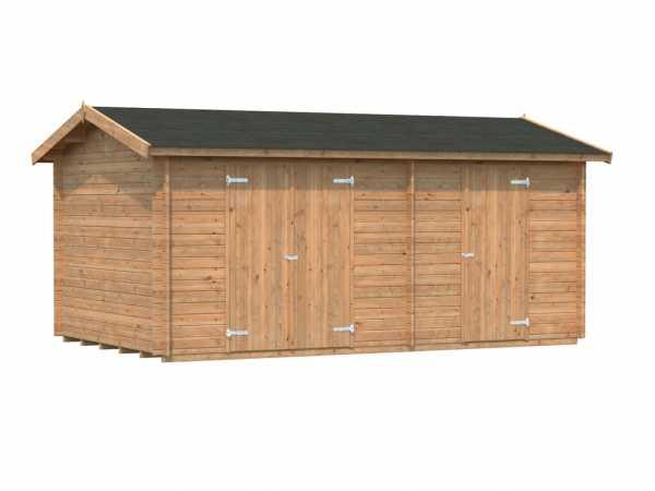 Gerätehaus Blockbohlenhaus Jari 14,5 m² 28 mm braun tauchimprägniert