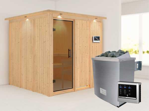 Systemsauna Rodin mit Dachkranz, graphit Ganzglastür, inkl. 9 kW Saunaofen ext. Steuerung