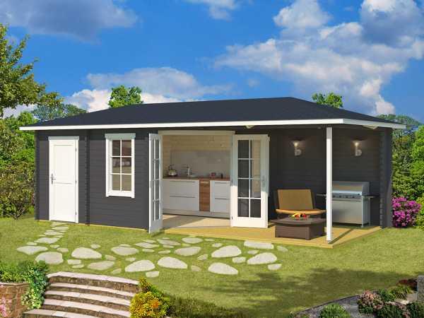 Gartenhaus Blockbohlenhaus Aruba 3B 40 mm carbongrau