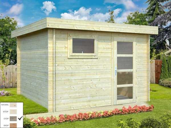 "Gartenhaus Blockbohlenhaus ""Elsa"" 8,7 m² 28 mm grau tauchimprägniert"