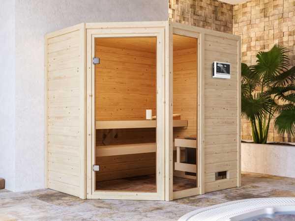 """Sauna """"Jada"""" mit bronzierter Glastür + 9 kW Saunaofen ext. Strg."""