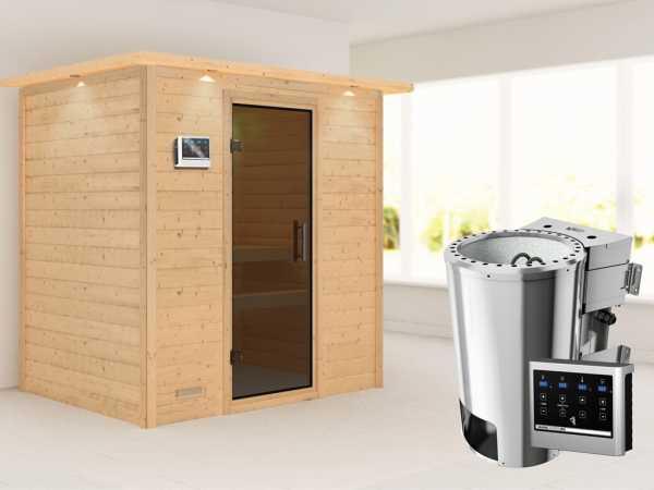 Sauna Massivholzsauna Ronja mit Dachkranz, graphit Ganzglastür + Plug & Play Bio-Ofen mit ext.Strg