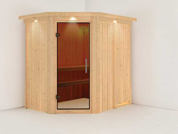 Sauna Systemsauna Saja mit Dachkranz, graphit Ganzglastür