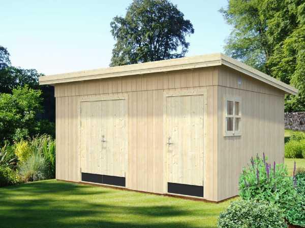 Gerätehaus Kalle 13,5 m² 18+70 mm naturbelassen