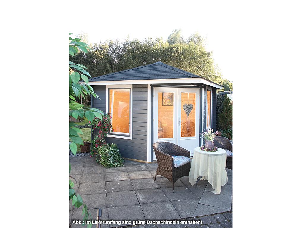 gartenhaus blockbohlenhaus sonja 40 40 mm naturbelassen inkl dachschindeln gr n spitzdach. Black Bedroom Furniture Sets. Home Design Ideas
