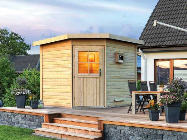 Saunahaus Pirva mit Holztür, inkl. 9 kW Saunaofen mit externer Steuerung