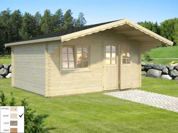 Gartenhaus Blockbohlenhaus Sally 15,5 m² 44 mm transparent tauchimprägniert