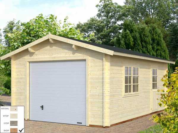 Garage Roger 19,0 m² mit Sektionaltor 44 mm braun tauchimprägniert