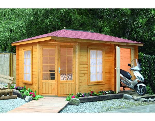 Gartenhaus Blockbohlenhaus Anna 40-A / 2-Raum 40 mm naturbelassen