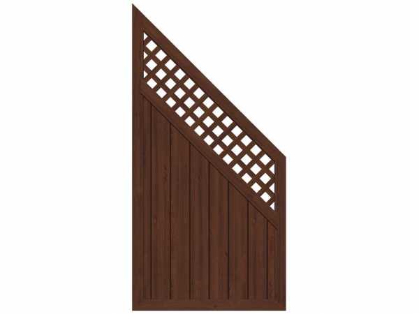 Sichtschutzzaun LONGLIFE RIVA Abschlusselement mit Gitter Nussbaum