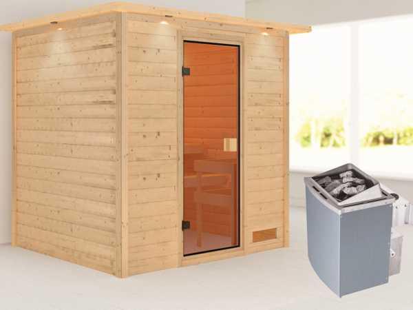 Sauna Adelina mit bronzierter Glastür und Dachkranz + 9 kW Saunaofen integr. Strg.