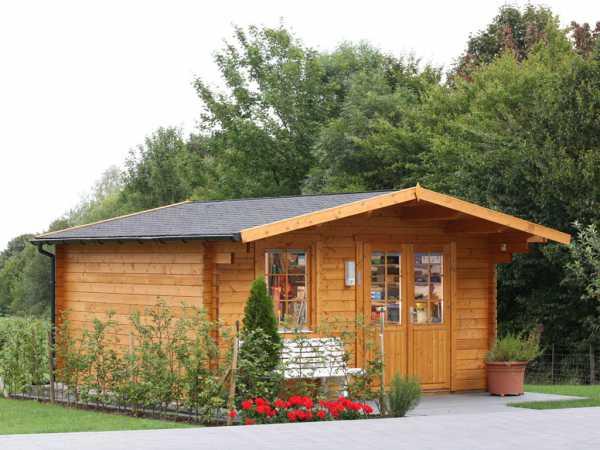 Gartenhaus Blockbohlenhaus Kim 44-B 44 mm naturbelassen