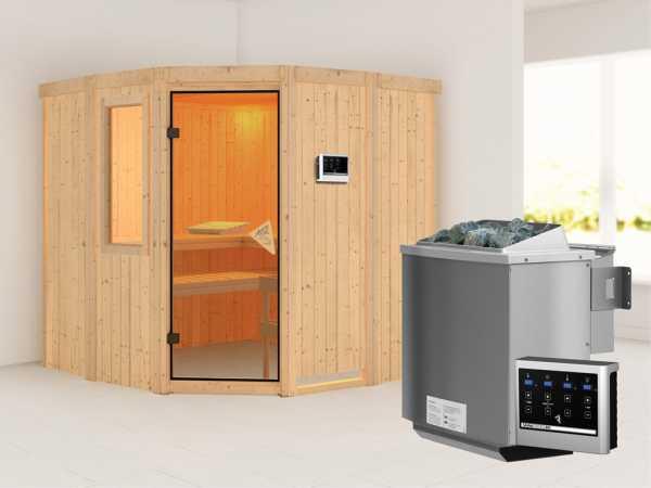 Sauna Systemsauna Simara 1 mit Fenster, inkl. 9 kW Bio-Kombiofen ext. Steuerung