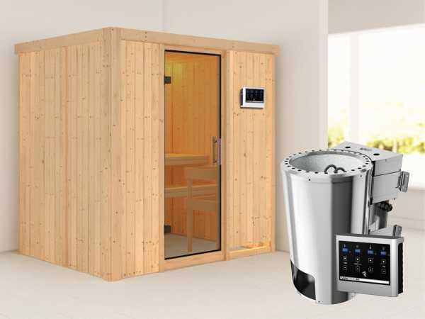 Sauna Systemsauna Fanja Klarglas Ganzglastür + Plug & Play Bio-Ofen mit externer Steuerung
