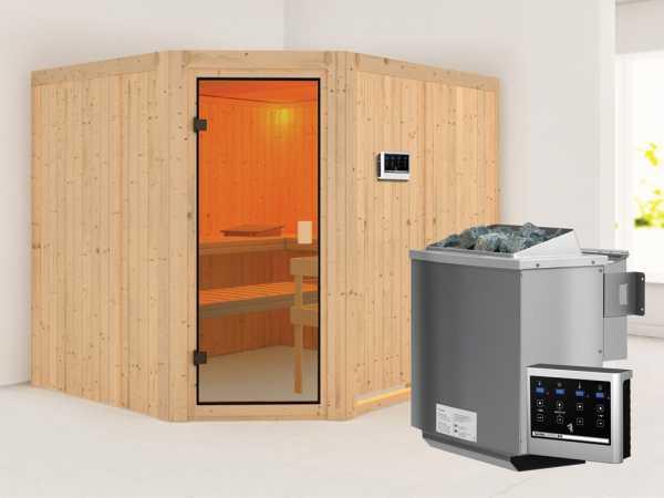 """Sauna """"Horna"""" mit bronzierter Glastür + 9 kW Bio-Kombiofen mit ext. Strg."""