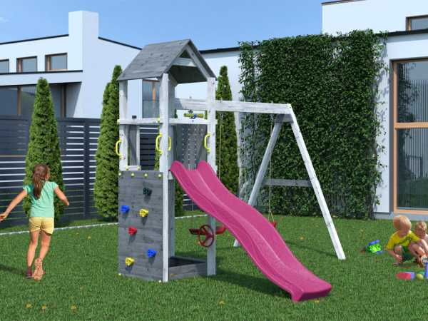 """Spielturm SPARSET """"Flappi"""" grau-weiß, inkl. 2,28 m Rutsche pink"""