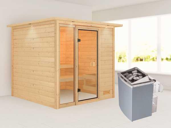 Sauna Jutta mit bronzierter Glastür und Dachkranz + 9 kW Saunaofen integr. Strg.