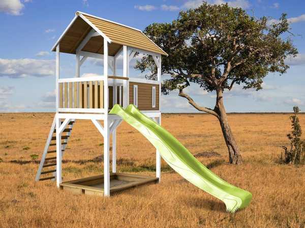 Spielturm Dory braun/weiß mit grüner Rutsche