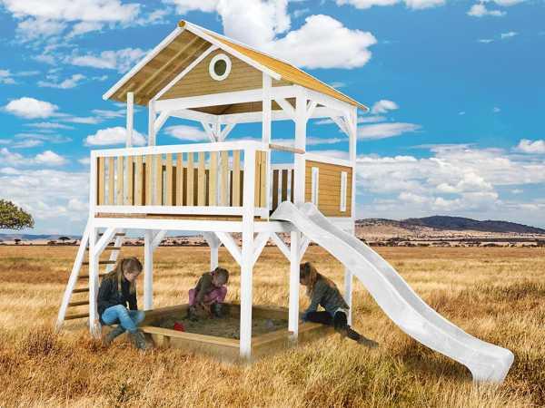 Spielturm Simba braun/weiß mit weißer Rutsche