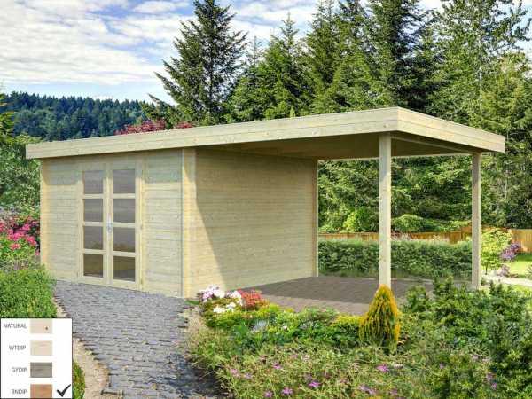 Gartenhaus Blockbohlenhaus Elsa 9,6+8,1 m² 28 mm braun tauchimprägniert