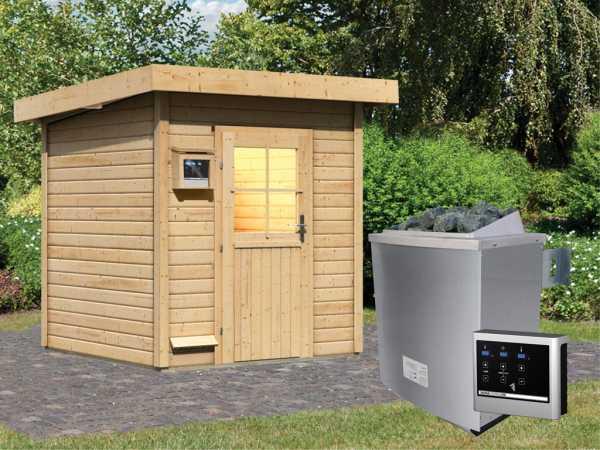 Saunahaus Taina mit Holztür, inkl. 9 kW Saunaofen mit externer Steuerung