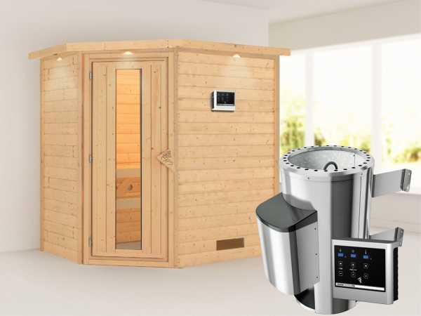 Sauna Massivholzsauna Cilja mit Dachkranz, Energiespartür + Plug & Play Saunaofen mit ext. Strg