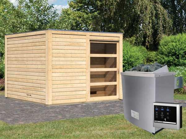 Saunahaus Cuben 38 mm naturbelassen inkl. 9 kW Saunaofen ext. Steuerung