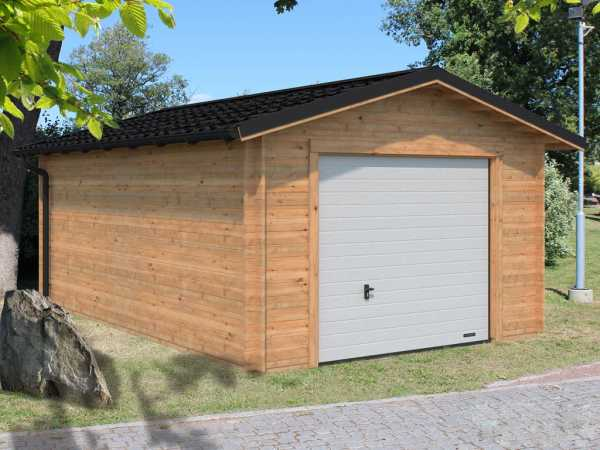 """Garage """"Tomas"""" 19,2 m² mit Sektionaltor 34 mm braun tauchimprägniert"""