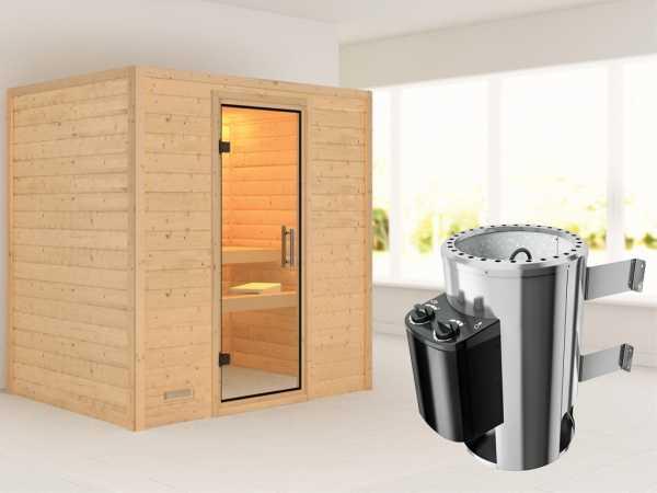 Sauna Massivholzsauna Ronja Klarglas Ganzglastür + Plug & Play Saunaofen mit Steuerung