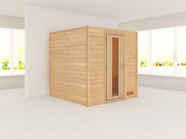 """Sauna Massivholzsauna """"Nora"""" Holztür mit Isolierglas"""