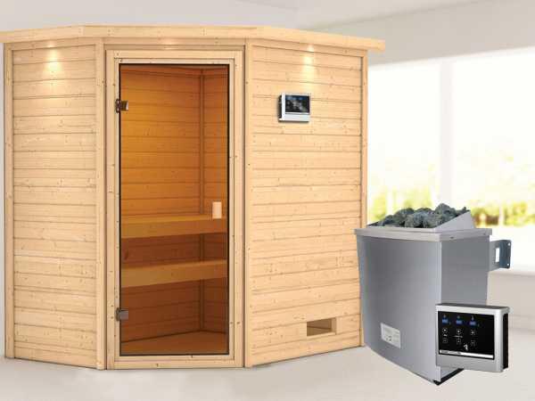 """Sauna """"Jella"""" mit bronzierter Glastür und Dachkranz + 9 kW Saunaofen ext. Strg."""
