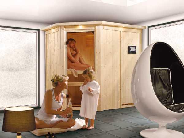 Sauna Systemsauna Saja mit Dachkranz, inkl. Plug & Play Bio-Ofen externe Steuerung