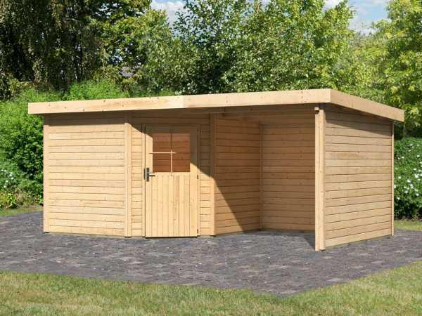 Gartenhaus SET Neuruppin 3 28 mm naturbelassen, inkl. 2,6 m Anbaudach + Seiten- und Rückwand