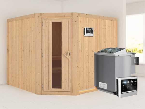"""Sauna Systemsauna """"Farin"""" Energiespartür + 9 kW Bio-Kombiofen mit ext. Strg"""