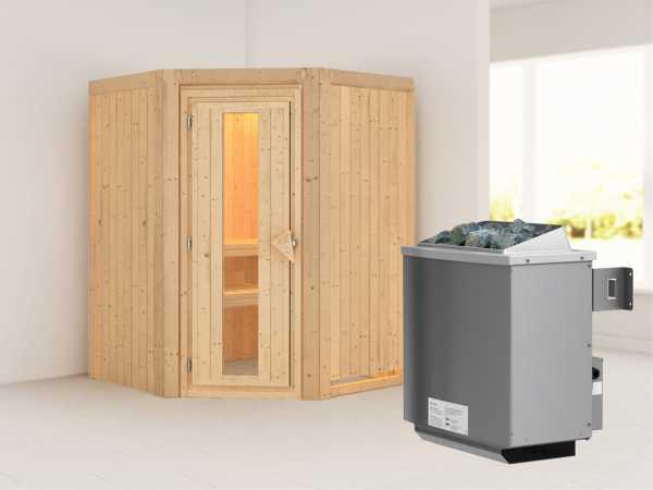 """Systemsauna """"Larin"""" Holztür mit Isolierglas, inkl. 9 kW Saunaofen integr. Steuerung"""