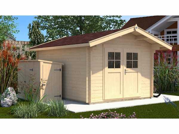 Gartenhaus Premium28 Gr. 2 28 mm natubelassen mit 60 cm Vordach