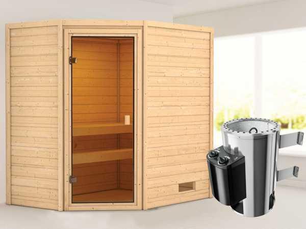 Sauna Jella mit bronzierter Glastür + 3,6 kW Plug & Play Saunaofen integr. Strg.