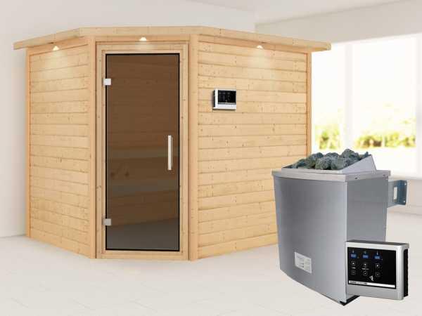 Sauna Lisa mit graphitfarbener Glastür und Dachkranz + 9 kW Saunaofen ext. Strg.