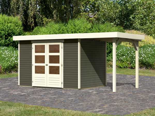 Gartenhaus SET Askola 4 19 mm terragrau, inkl. 1,5 m Anbaudach