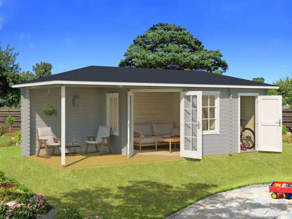 Gartenhaus Blockbohlenhaus Aruba 3A 40 mm lichtgrau