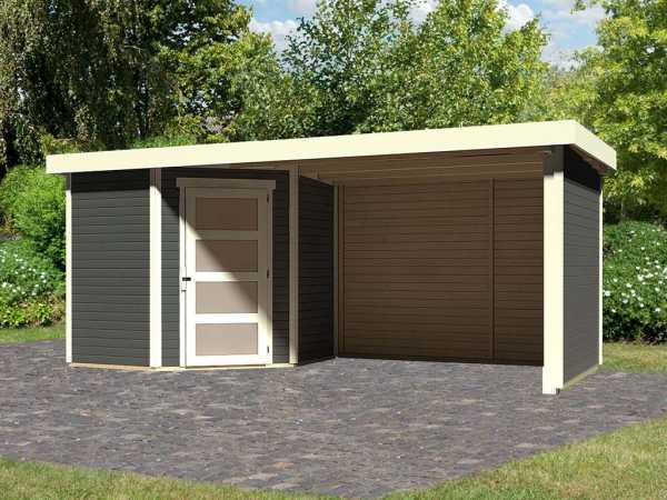 Gartenhaus SET Schwandorf 3 19 mm terragrau, inkl. 2,8 m Anbaudach + Seiten- und Rückwand