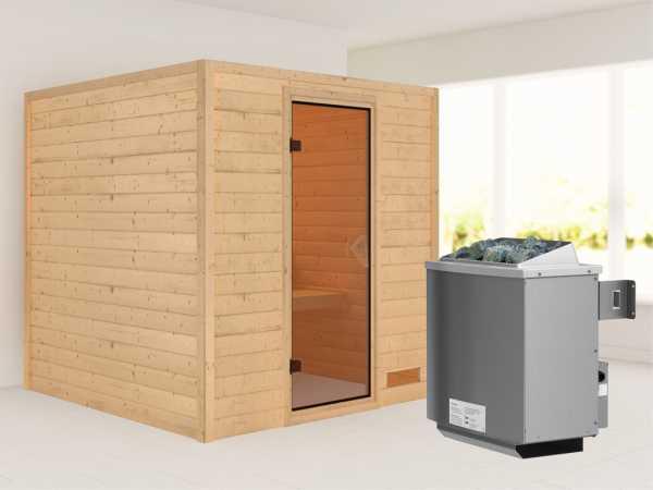 """Sauna Massivholzsauna """"Nora"""" bronzierte Ganzglastür + 9 kW Saunaofen mit Steuerung"""