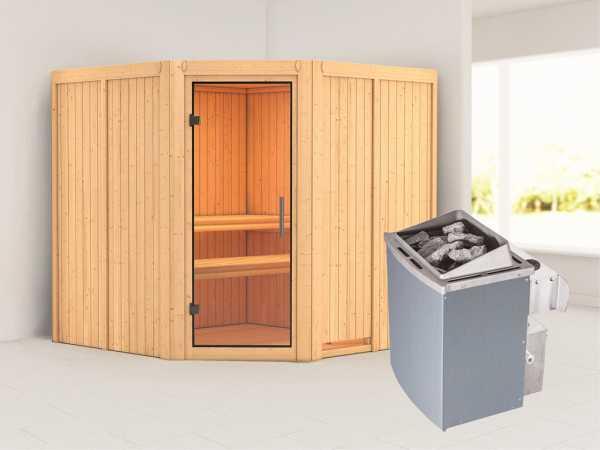 Sauna Systemsauna Jarin Klarglas Ganzglastür + 9 kW Saunaofen mit Steuerung