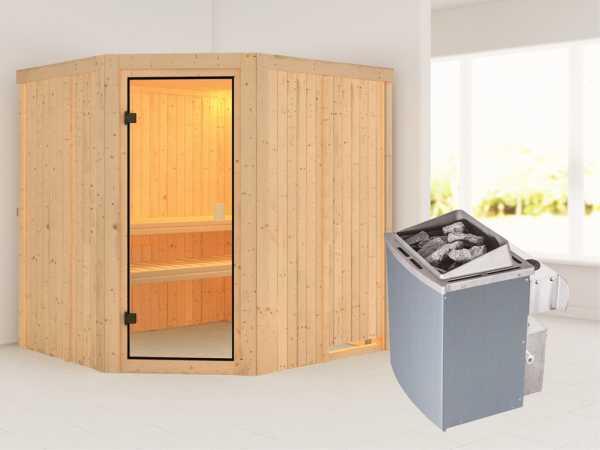 """Sauna """"Bodo"""" mit bronzierter Glastür + 9 kW Saunaofen integr. Strg."""