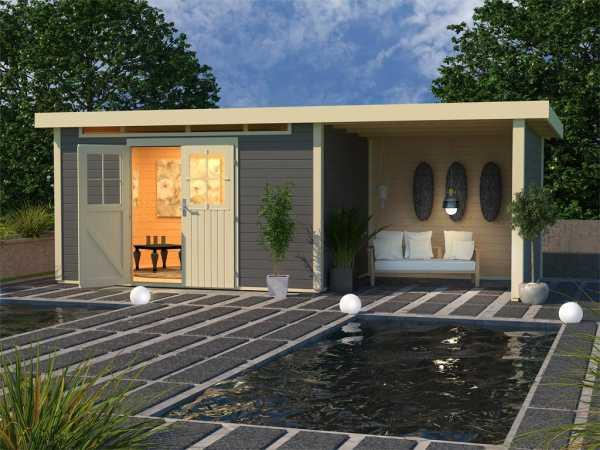 Gartenhaus SET Kerpen 5 28 mm terragrau, inkl. 2,6 m Anbaudach + Seiten- und Rückwand